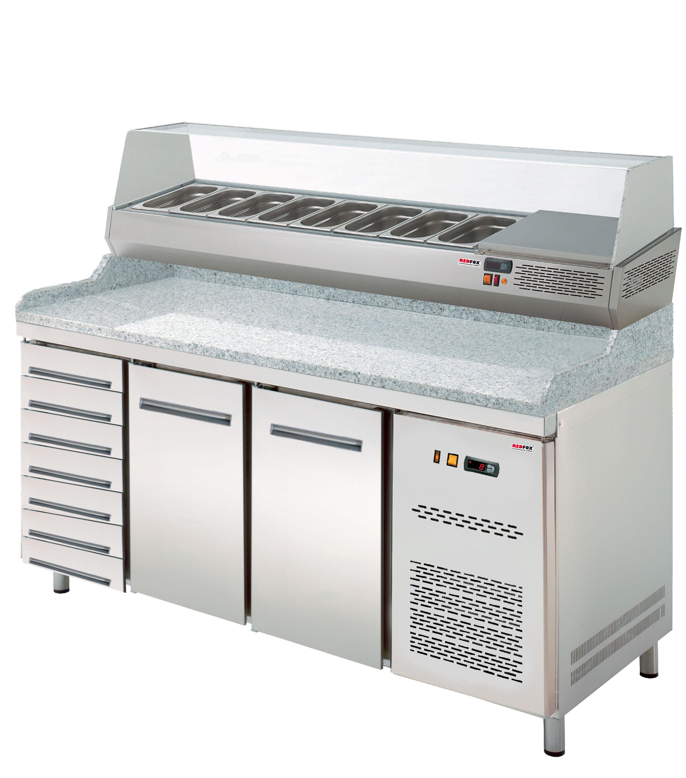 Stůl chladící pizza RTP 2D+7ZN s chladící vitrínkou RedFox