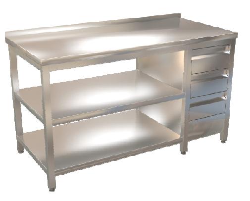 Stůl prac. se zásuvkovým blokem a dvěma policemi 150x70
