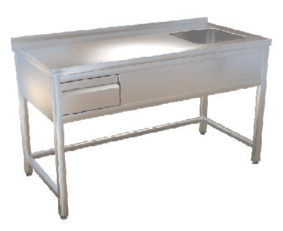 Stůl mycí bez police 140x70 se zásuvkou