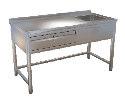 Stůl mycí bez police 160x70 2x zásuvka