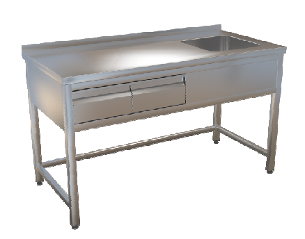 Stůl mycí bez police 180x70 2x zásuvka