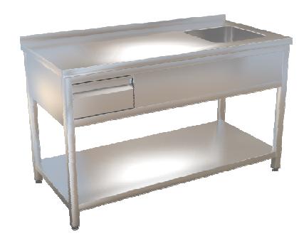 Stůl mycí s policí  120x70 se zásuvkou