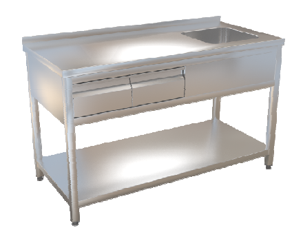 Stůl mycí s policí  140x70