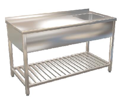 Stůl mycí s roštovou policí  180x70
