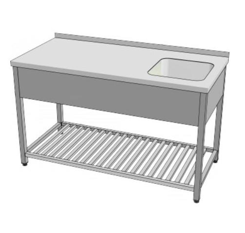 Stůl mycí s roštovou policí  140x70