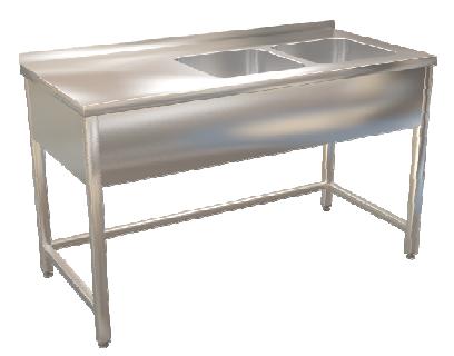Stůl mycí dvoudřez  120x70