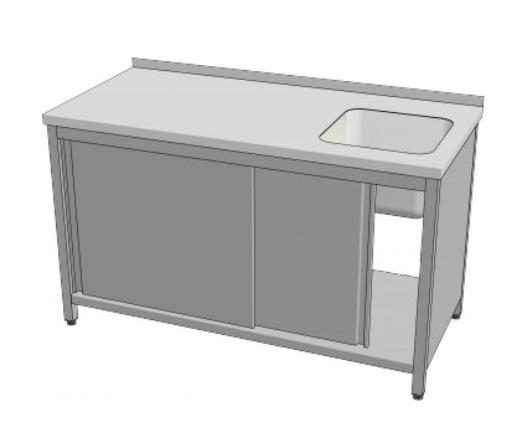 Stůl mycí s posuvnými dveřmi  160x70