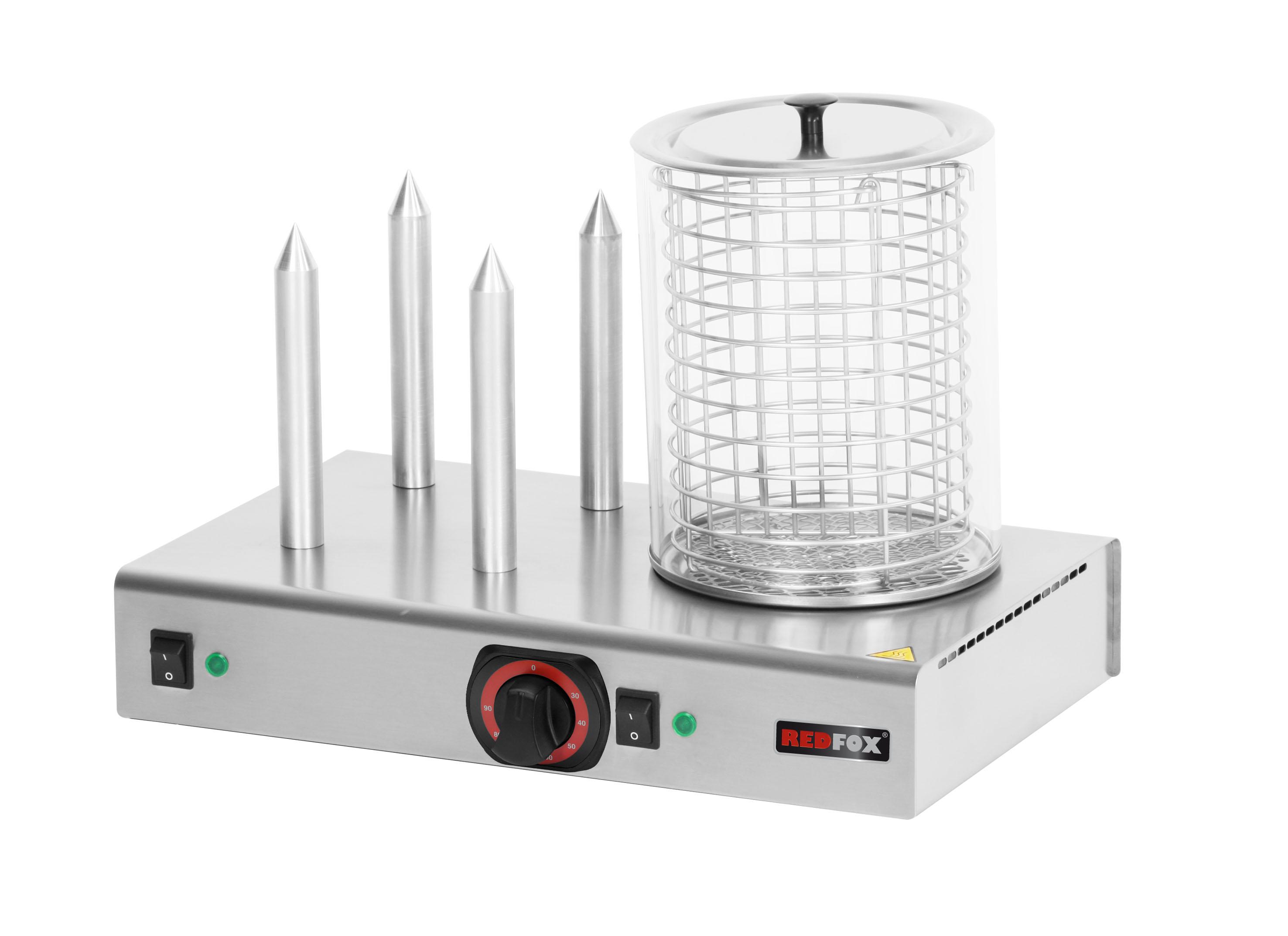 Hot-dog HD 4N 4 trny + nádoba s košíkem ohřívač rohlíků REDFOX
