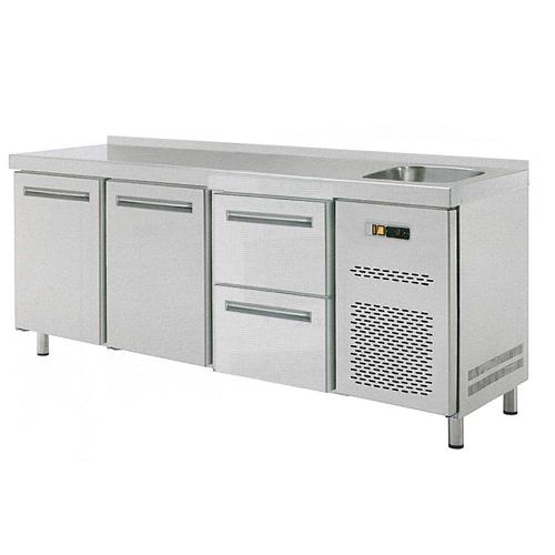 Stůl chladící RT 3D 1x dřez 2x dvířka 1x zásuvkový set REDFOX