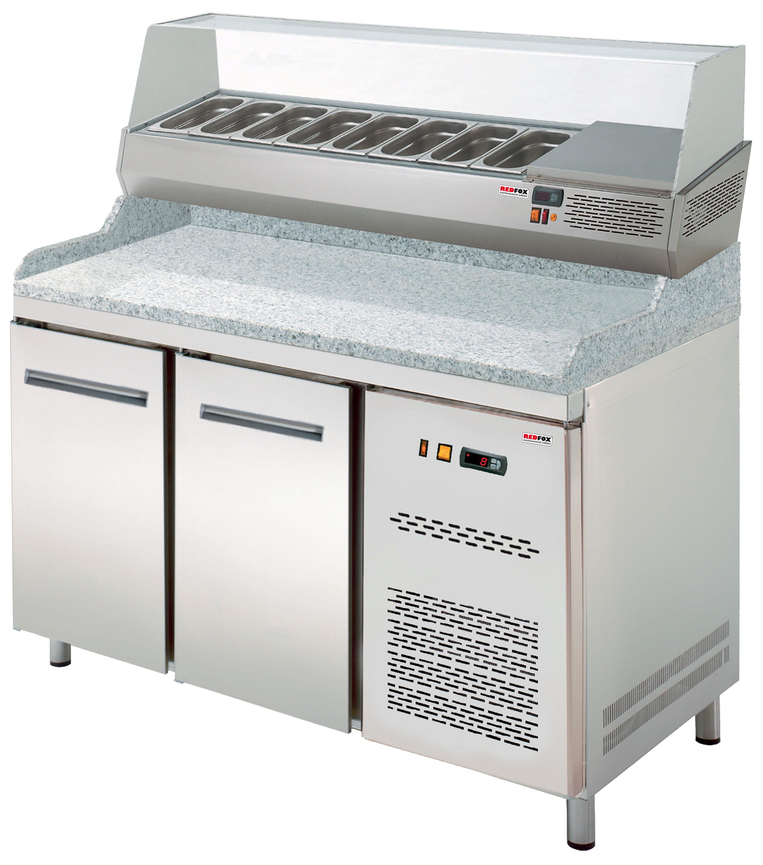 Stůl chladící pizza RTP 2D s chladící vitrínkou REDFOX