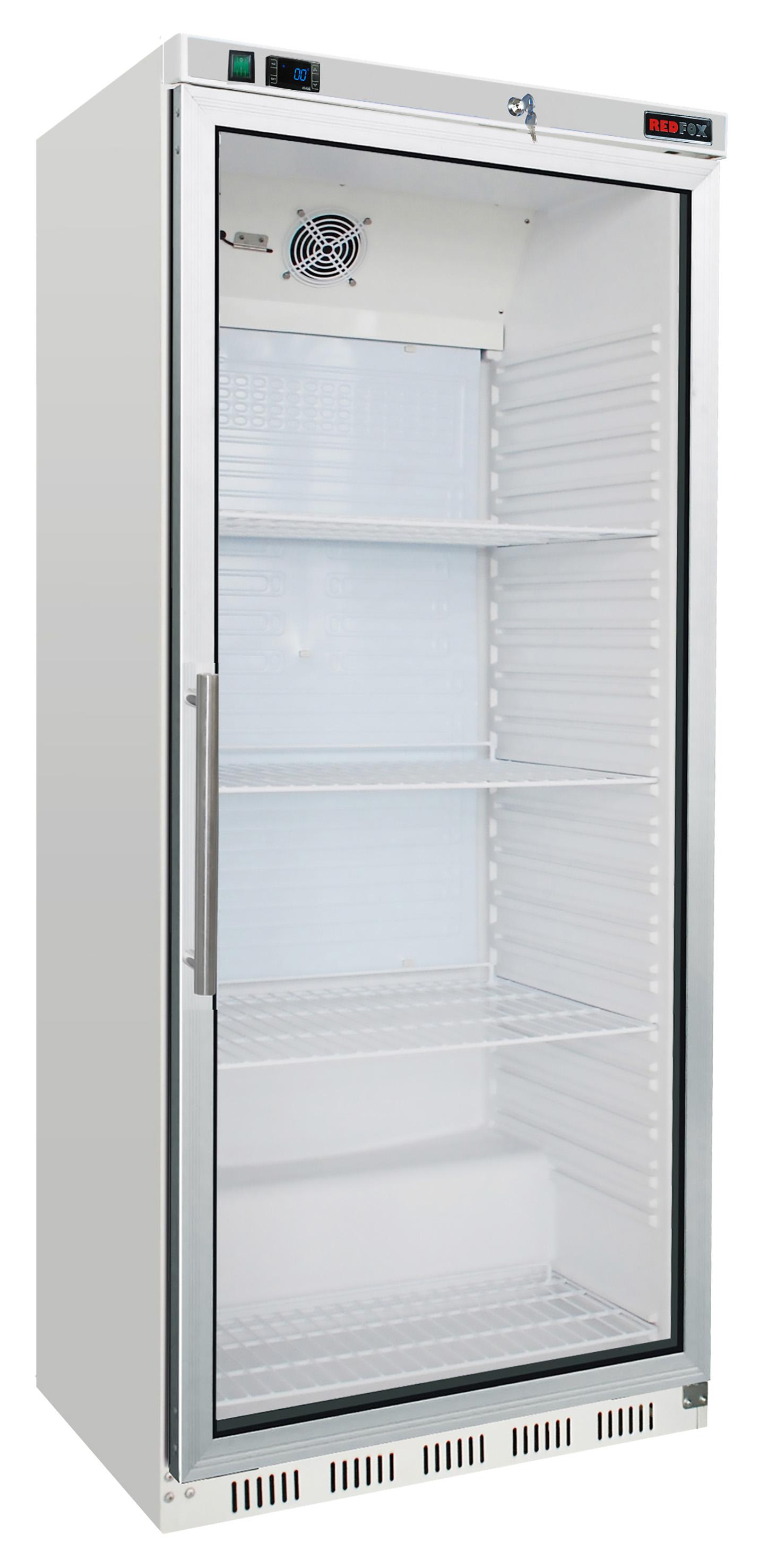 Skříň mrazící HF 600/G mraznice bílá prosklené dveře REDFOX